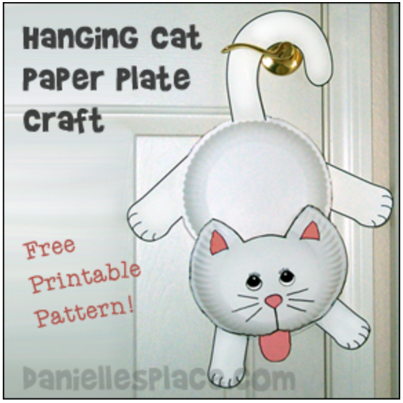 Hanging Cat Paper Plate Craft