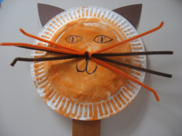 Paper Plate Cat Puppet