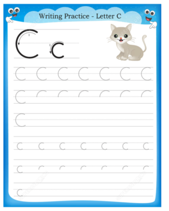 C is for Cat Letter Practice Printable